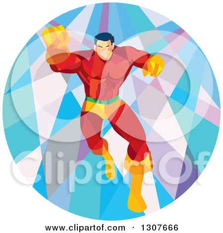 Clipart of a Retro Low Poly Caucasian Male Super Hero Running Forward and Punching in a Circle - Royalty Free Vector Illustration by patrimonio