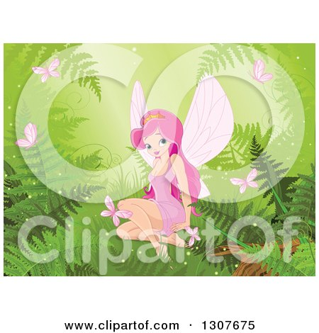 Clipart of a Pretty Pink Haired Princess Fiary Sitting, Surrounded by Forest Ferns and Butterflies on Green - Royalty Free Vector Illustration by Pushkin