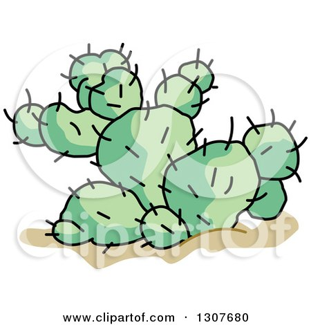 Clipart of a Cartoon Desert Prickly Pear Cactus Plant ...