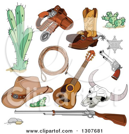 Clipart of Western Cowboy Accessories, Cactus, Pistol, Boots, Sheriff Badge, Guns, Rope, Guitar, Skeleton, and Hat - Royalty Free Vector Illustration by Pushkin