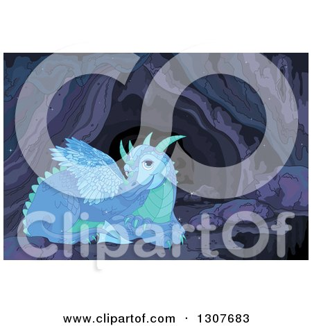 Clipart of a Blue and Green Resting Dragon in a Cave - Royalty Free Vector Illustration by Pushkin