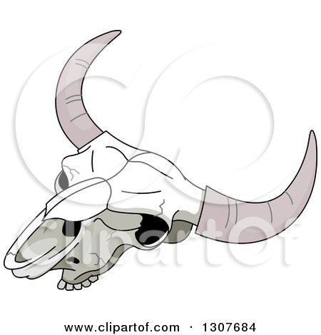 Clipart of a Cartoon Bull Skull - Royalty Free Vector Illustration by Pushkin