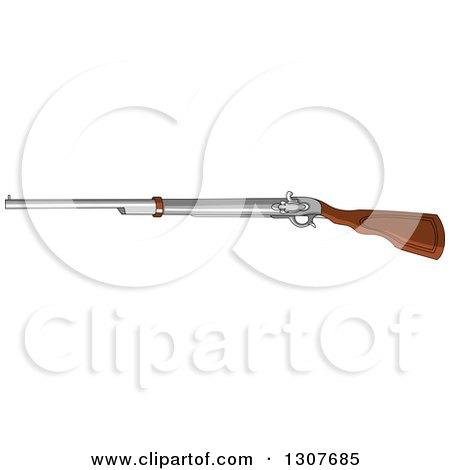 Clipart of a Western Cowboy Rifle Shot Gun - Royalty Free Vector Illustration by Pushkin