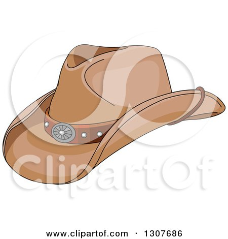 Clipart of a Cartoon Cowboy Hat - Royalty Free Vector Illustration by Pushkin