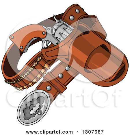 Clipart of a Western Cowboy Revolver Gun and Bullets in a Holster - Royalty Free Vector Illustration by Pushkin