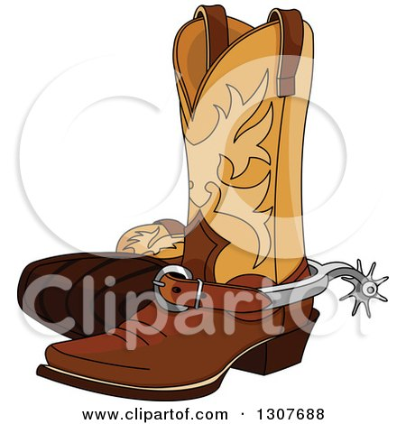 Clipart Of A Cartoon Cowboy Boots With Spurs Royalty Free Vector Illustration