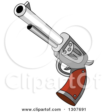 Clipart of a Western Cowboy Revolver Gun - Royalty Free Vector Illustration by Pushkin