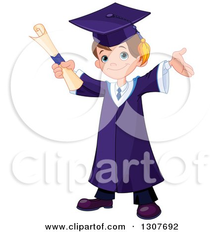 Clipart of a Happy Brunette White School Boy Graduate Cheering with a Certificate - Royalty Free Vector Illustration by Pushkin
