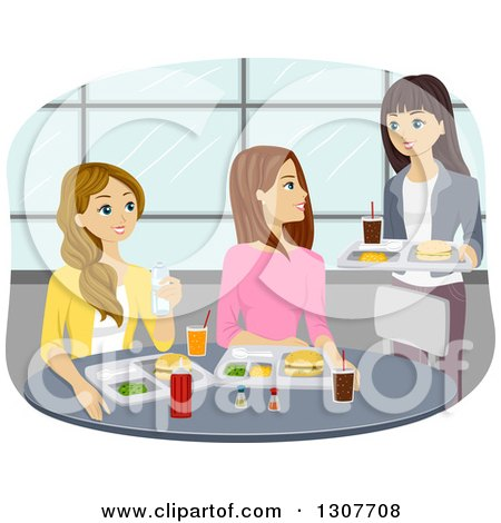 Clipart of a Group of Caucasian Teenage Girls Meeting for Lunch in a Cafeteria - Royalty Free Vector Illustration by BNP Design Studio