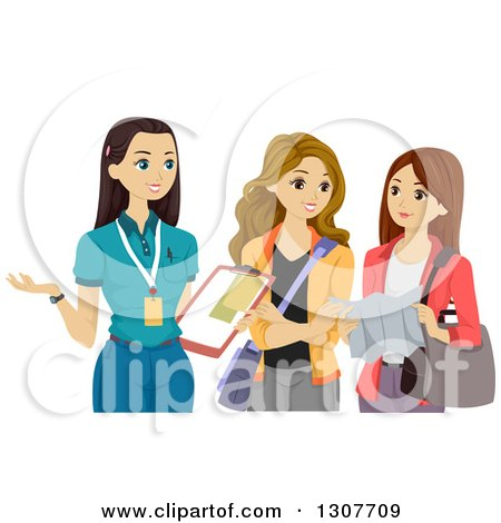 Clipart of a Caucasian Teen Female Volunteer Discussing Something with Friends - Royalty Free Vector Illustration by BNP Design Studio