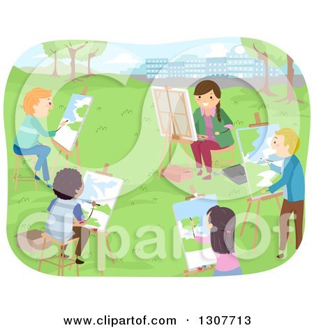 Clipart of a Class of High School Students Painting Landscapes in a Park - Royalty Free Vector Illustration by BNP Design Studio