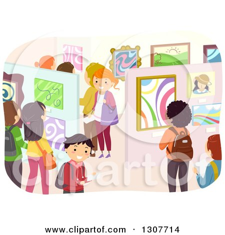 Clipart of a Crowd of Students in an Art Exhibit Gallery - Royalty Free Vector Illustration by BNP Design Studio