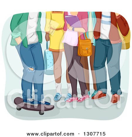 Clipart of a Group of Legs of High School Students, One Boy on a Skateboard - Royalty Free Vector Illustration by BNP Design Studio