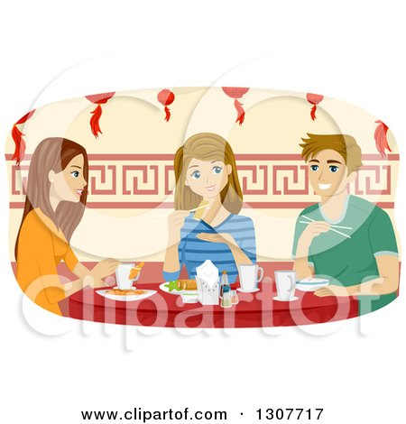 Clipart of a Young Caucasian Man and Girl Eating at a Chinese Restaurant - Royalty Free Vector Illustration by BNP Design Studio