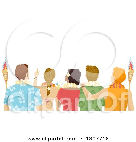 Clipart of a Rear View of Young Adults Wearing Hawaiian Leis and Holding Torches - Royalty Free Vector Illustration by BNP Design Studio