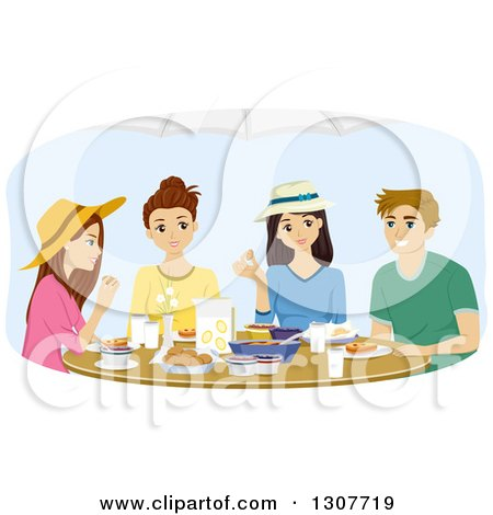 Clipart of a Group of Teenagers Eating a Meal Together - Royalty Free Vector Illustration by BNP Design Studio