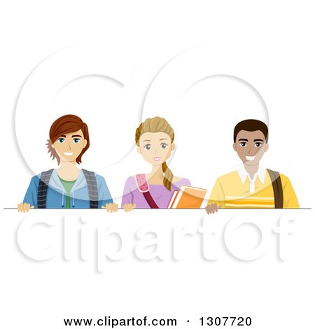 Clipart of a Happy High School Teenage Girl and Two Young Men over a Blank Sign - Royalty Free Vector Illustration by BNP Design Studio