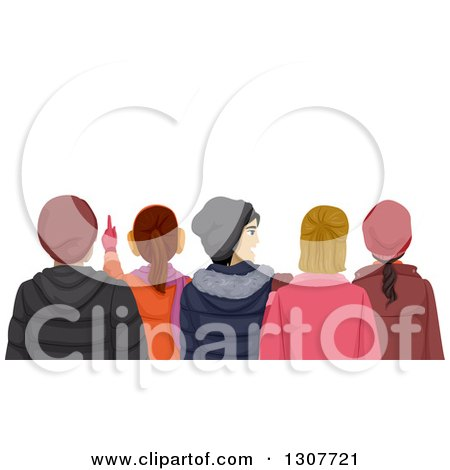Clipart of a Rear View of Teenagers Watching Something and Wearing Winter Apparel - Royalty Free Vector Illustration by BNP Design Studio