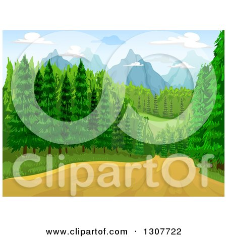 Clipart of a Dirt Road Through a Forest, with Mountains in the Distance - Royalty Free Vector Illustration by BNP Design Studio