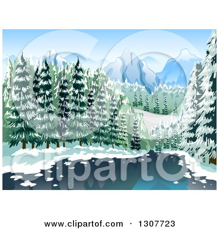 Clipart of a River Through a Winter Forest with Mountains in the Distance - Royalty Free Vector Illustration by BNP Design Studio