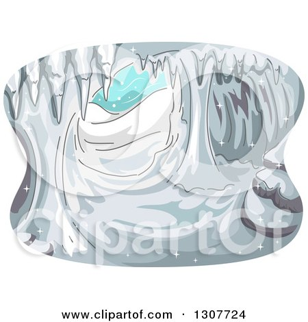 Clipart of a Sketched Cave with Ice and Snow - Royalty Free Vector Illustration by BNP Design Studio