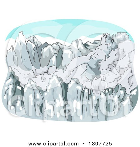 Clipart of a Sketched Rugged Mountain Range with Snow - Royalty Free Vector Illustration by BNP Design Studio