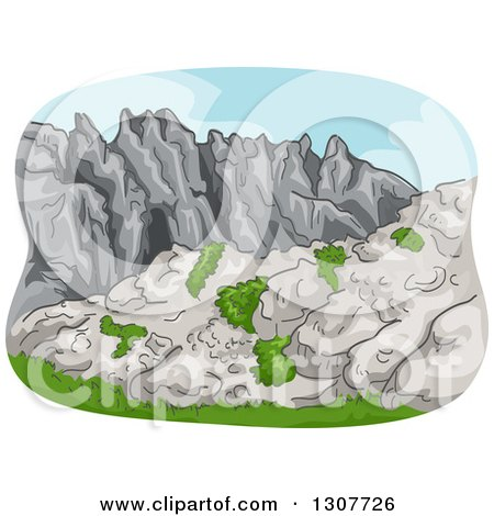 Clipart of a Sketched Rocky Mountain Range with Shrubs - Royalty Free Vector Illustration by BNP Design Studio