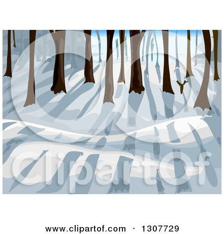 Clipart of a Winter Forest with Sun and Shadows - Royalty Free Vector Illustration by BNP Design Studio