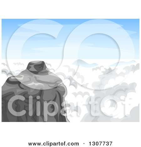 Clipart of a Mountain Summit with Clouds and Blue Sky - Royalty Free Vector Illustration by BNP Design Studio