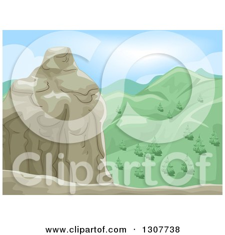 Clipart of a Mountain Summit with Green Hills - Royalty Free Vector Illustration by BNP Design Studio
