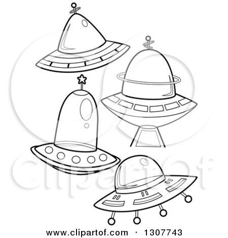 Clipart of Black and White Flying Saucers - Royalty Free Vector Illustration by BNP Design Studio