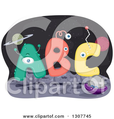 Clipart of ABC Letter Aliens on a Foreign Planet - Royalty Free Vector Illustration by BNP Design Studio
