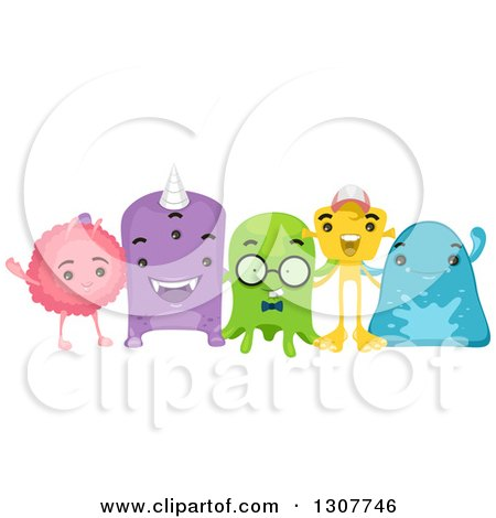 Clipart Of A Group Of Happy Alien Friends Royalty Free Vector Illustration