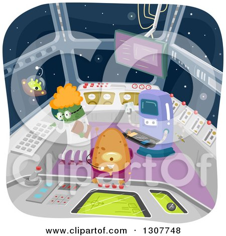 Clipart of a Group of Aliens Working in a Control Room - Royalty Free Vector Illustration by BNP Design Studio