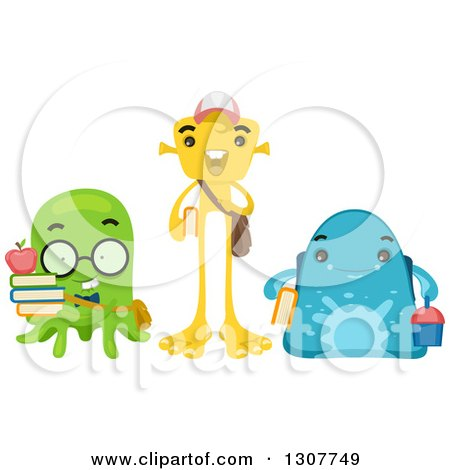 Clipart of a Group of Alien School Students - Royalty Free Vector Illustration by BNP Design Studio