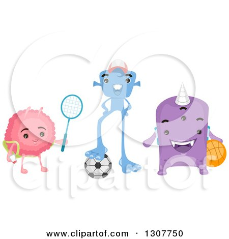 Clipart of a Group of Alien Kids with a Tennis Racket, Soccer Ball and Basketball - Royalty Free Vector Illustration by BNP Design Studio