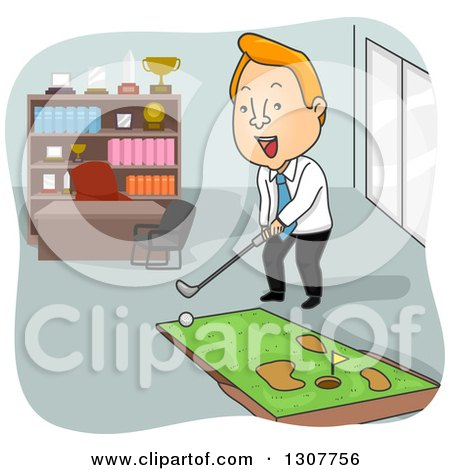 Clipart Of A Cartoon Red Haired White Businessman Playing