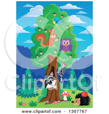 Clipart of a Raccoon Peeking out Through a Tree Hollow, with Birds, an Owl and Squirrel in the Forest - Royalty Free Vector Illustration by visekart