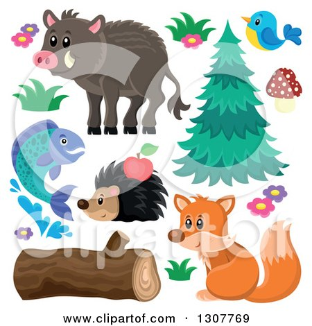 Clipart of a Boar, Bird, Hedgehog, Fish, Squirrel and Plants - Royalty Free Vector Illustration by visekart
