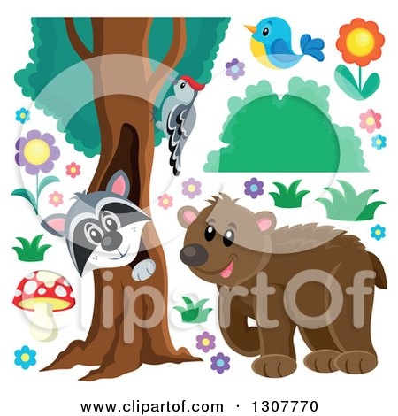 Clipart of a Bear, Raccoon Peeking out Through a Tree Hollow, Woodpecker, Blue Bird and Flowers| Royalty Free Vector Illustration by visekart
