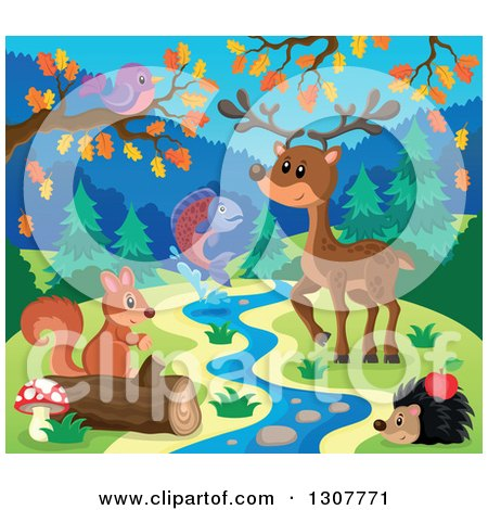 Clipart of a Bird, Deer, Leaping Salmon, Hedgehog and Squirrel at a Spring in Autumn - Royalty Free Vector Illustration by visekart