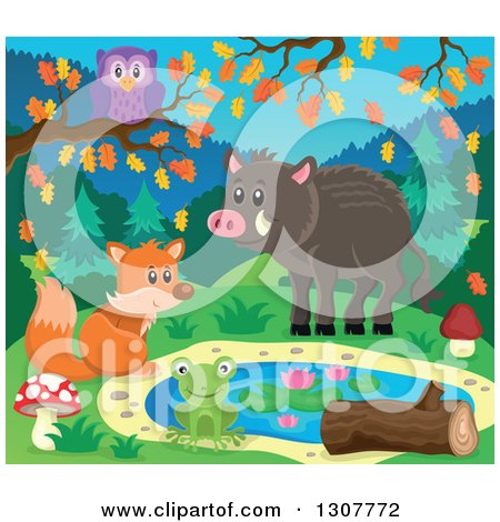 Clipart of a Happy Fox, Frog, Boar and Owl at a Pond on an Autumn Day - Royalty Free Vector Illustration by visekart