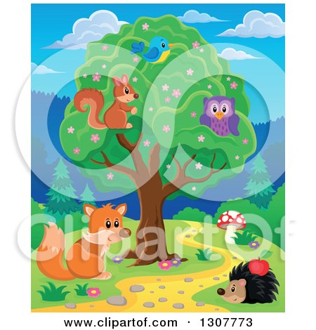 Clipart of a Squirrel, Bird and Owl in a Tree over a Fox and Hedgehog Along a Forest Path - Royalty Free Vector Illustration by visekart