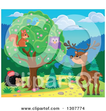 Clipart of a Squirrel, Bird and Owl in a Tree over a Deer and Hedgehog Along a Forest Path - Royalty Free Vector Illustration by visekart
