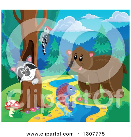 Clipart of a Raccoon Peeking out Through a Tree Hollow, Woodpecker, Leaping Fish and Bear at a Forest Sream - Royalty Free Vector Illustration by visekart