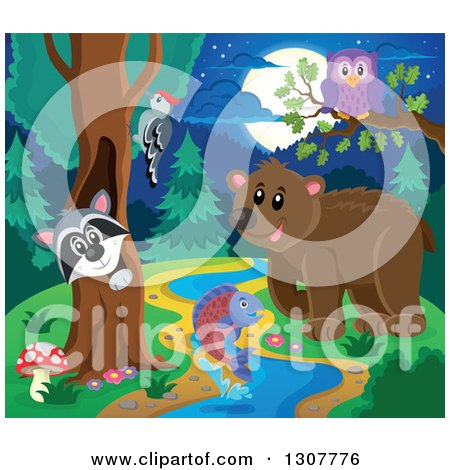 Clipart of a Raccoon Peeking out Through a Tree Hollow, Woodpecker, Owl, Leaping Fish and Bear at a Forest Stream at Night - Royalty Free Vector Illustration by visekart