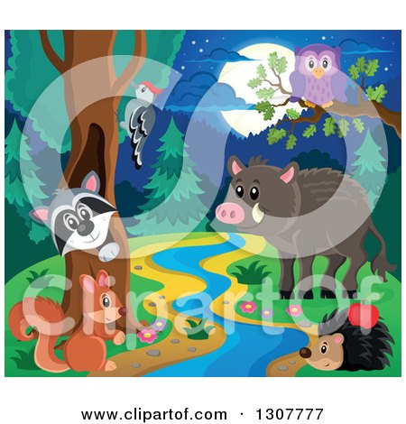 Clipart of a Raccoon Peeking out Through a Tree Hollow, Woodpecker, Owl, Squirrel, Hedgehog, and Boar at a Forest Stream at Night - Royalty Free Vector Illustration by visekart