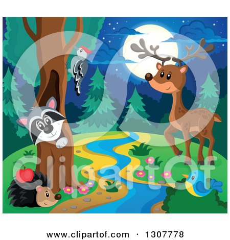 Clipart of a Raccoon Peeking out Through a Tree Hollow, Woodpecker, Hedgehog, Bluebird, and Deer at a Forest Stream at Night - Royalty Free Vector Illustration by visekart