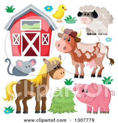 Clipart of a Cute Barn, Chick, Sheep, Cow, Mouse, Horse and Pig - Royalty Free Vector Illustration by visekart