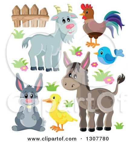 Clipart of a Cute Gray Goat, Rooster, Blue Bird, Donkey, Duck, and Rabbit - Royalty Free Vector Illustration by visekart